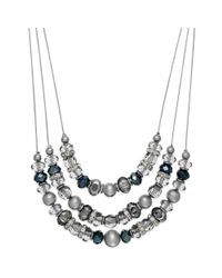 INC International Concepts | Metallic Silver-tone Black Diamond Bead Triple Row Necklace | Lyst