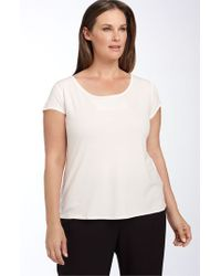 Eileen Fisher - White Silk Tee - Lyst
