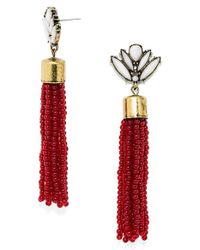 BaubleBar | Metallic 'acid' Fringe Tassel Drop Earrings - Maroon | Lyst