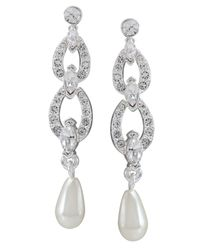 Carolee | White Glass Pearl And Crystal Linear Drop | Lyst