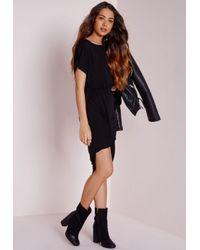 Missguided - Twist Hem Loose Fit Midi Dress Black - Lyst