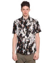 McQ Multicolor Short Sleeve Floral Cotton Canvas Shirt for men