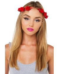 AKIRA - Dolce Vita Red Floral Headpiece - Lyst