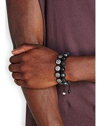 Nialaya Metallic Dorje Sterling Silver Beaded Bracelet for men