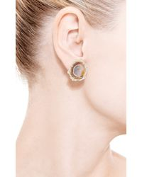 Kimberly Mcdonald - Yellow One Of A Kind Neutral Geode and Irregular Diamond Stud Earrings - Lyst
