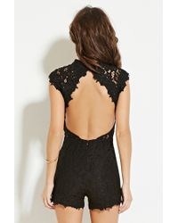 Forever 21 - Black Scalloped Lace Romper - Lyst