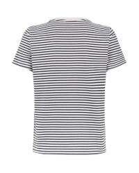 Maje Blue Terry Embroidered Stripe T-shirt
