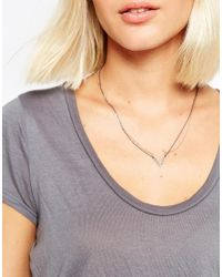 SELECTED - Metallic Trina Double V Necklace - Lyst
