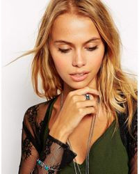 ASOS | Blue Slim Etched Stone Ring | Lyst