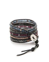 Chan Luu - Metallic Beaded Wrap Bracelet - Garnet Mix/gunmetal - Lyst
