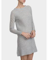 White + Warren Gray Cashmere Shaker Knit Dress