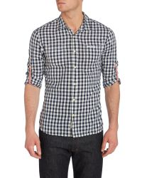 Scotch & Soda White Workedout Shirt with Woven Sleeve Braces for men