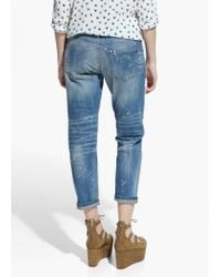 Mango Blue Cropped Slim-Fit Nancy Jeans