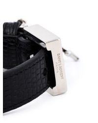 Saint Laurent | Black Logo Charm Bracelet | Lyst