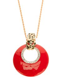Kenneth Jay Lane Red Leopard Necklace