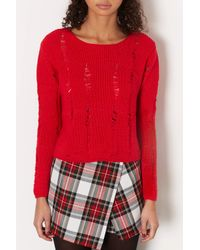 TOPSHOP - Red Petite Knitted Ladder Stitch Jumper - Lyst