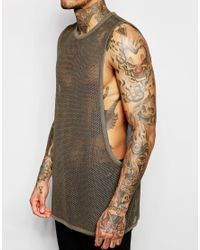 ASOS Green Mesh Longline Sleeveless T-shirt With Dropped Armholes for men