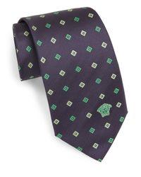Versace | Blue Silk Diamond Neat Tie for Men | Lyst