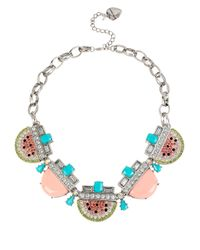 Betsey Johnson | Pink Ocean Drive Pave Crystal Watermelon Necklace | Lyst