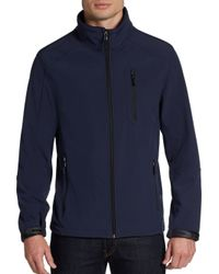 Calvin Klein - Blue Zip Front Soft Shell Jacket for Men - Lyst