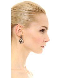 Deepa Gurnani - Metallic Crystal Drop Earrings - Clear/Gold - Lyst