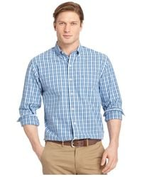 Izod Blue Big And Tall Plaid Long-sleeve Shirt for men