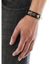 Saint Laurent - Metallic De Force Studded Leather Cuff for Men - Lyst
