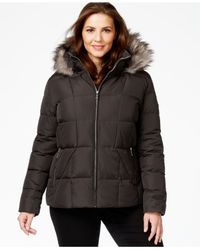 Calvin Klein | Gray Plus Size Faux-fur-trim Down Coat | Lyst