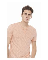 Express - Orange Twisted Slub Y-neck Henley Tee for Men - Lyst