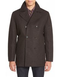 Michael Kors Gray Wool-Blend Double-Breasted Peacoat for men