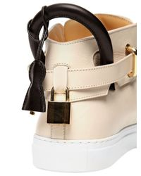 Buscemi Natural Classic Smooth Leather High Top Sneakers