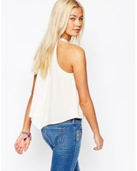 Hollister | Natural Bow Tie Neck Top | Lyst