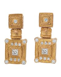 Charriol | Metallic Square Diamondinset Gold Earrings | Lyst
