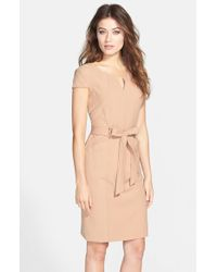 Ellen Tracy - Natural Belted Stretch Sheath Dress - Lyst