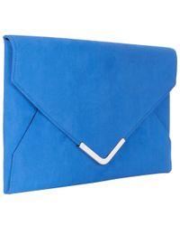John Lewis Blue Abigail Envelope Clutch Bag