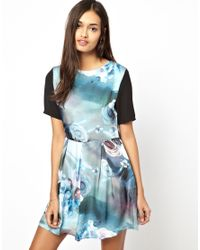 Glamorous | Blue Rose Print Dress | Lyst