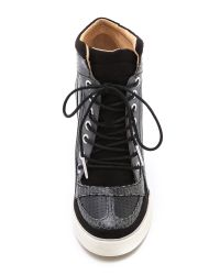 L.A.M.B. - Black Summer Lace Up Wedge Sneakers - Lyst