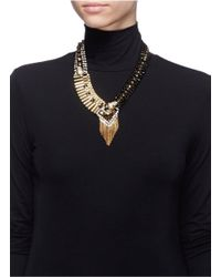 Iosselliani - Metallic Decò Cheetah Crystal Fringe Necklace - Lyst