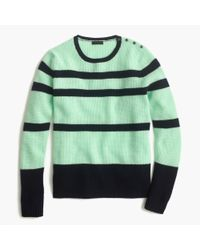 J.Crew | Blue Collection Cashmere Striped Waffle Sweater | Lyst