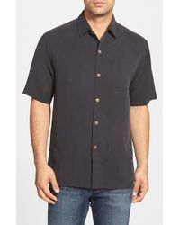 Tommy Bahama | Black 'san Clemente' Original Fit Silk Camp Shirt for Men | Lyst