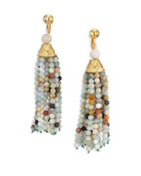 Kenneth Jay Lane | Multicolor Beaded Tassel Clip-on Earrings | Lyst