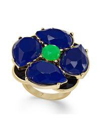 kate spade new york | New York Goldtone Blue Green Stone Flower Ring | Lyst