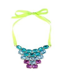 Steve Madden - Lime Green Ribbon and Multicolored Crystal Frontal Necklace - Lyst