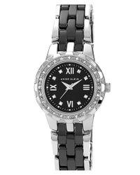 Anne Klein White Crystal & Ceramic Bracelet Watch
