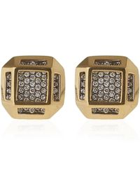 Noor Fares | Metallic Gold Cube Earrings | Lyst