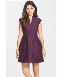 Halston Red V-neck Faille Fit & Flare Dress