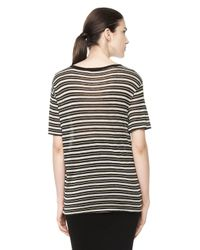 Alexander Wang - Multicolor Stripe Linen Short Sleeve Tee - Lyst