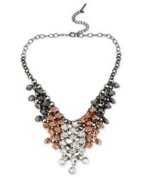 Steve Madden | Pink Tri-Tone Shaky Faceted Bead Bib Necklace | Lyst