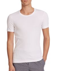 Hanro | White Ribbed Crewneck Tee for Men | Lyst