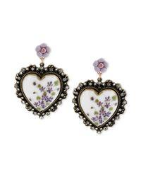 Betsey Johnson | Purple Floral Printed Heart Drop Earrings | Lyst
